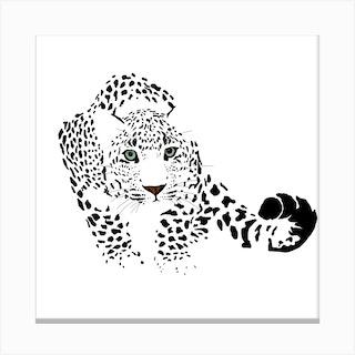 Snow Leopard White Series Square Canvas Print
