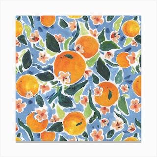 Orange Print Square Canvas Print