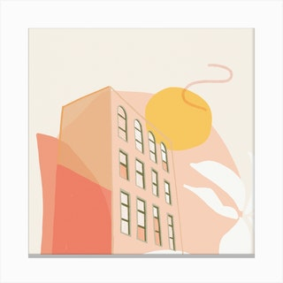 Sunset View Square Canvas Print