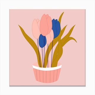 Pink And Blue Tulips In A Pot 2 Canvas Print