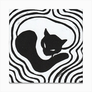 Black&White Cat 2 Canvas Print