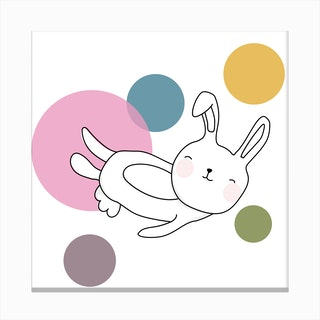 Space Rabbits Neo Canvas Print