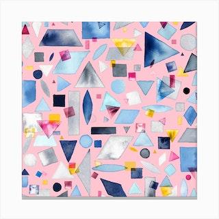 Geometric Pieces Pink Square Canvas Print