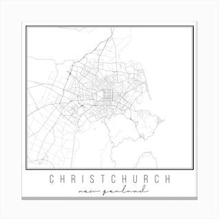 Christchurch New Zealand Street Map Canvas Print