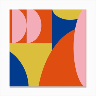 Primary Shapes And Colors Square Canvas Print