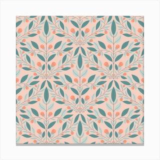 Cream Floral Diamond Square Canvas Print