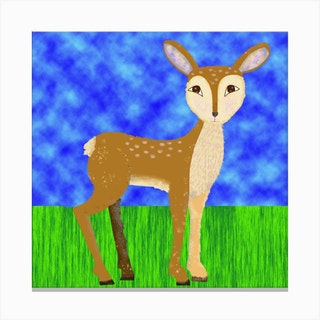 Deer In Forest Square Canvas Print