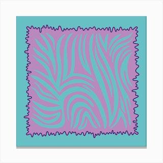 Aqua Tiger Square Canvas Print