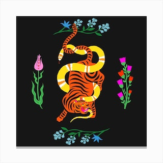 Tiger And Snake Battle Flowers Square Canvas Print