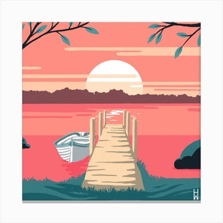 Loch Pier Square Canvas Print