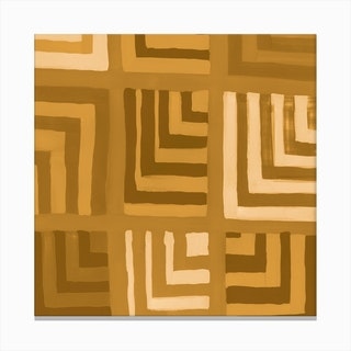 Painted Color Block Squares In Mustard Canvas Print