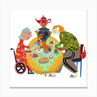 Grandmas Tea Party Square Canvas Print