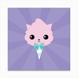 Cotton Candy Cat Square Canvas Print