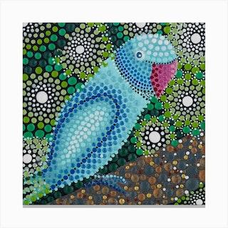 Jungle Parrot Square Canvas Print
