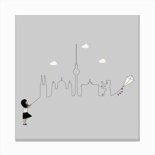 Berlin Skyline Kite Canvas Print