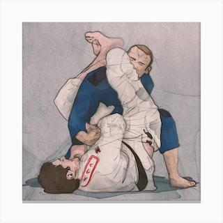 Brazilian Jiu Jitsu   Arm Bar Square Canvas Print