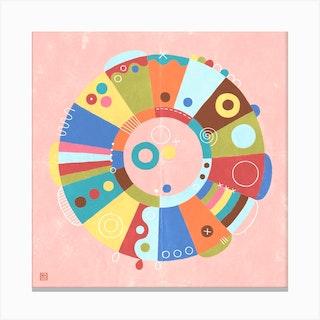 Hello Spring Meditative Mandala Canvas Print