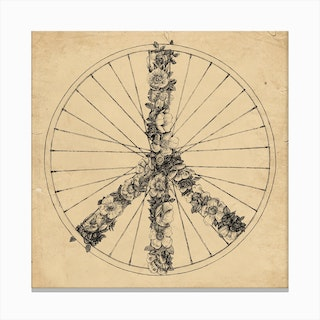 Peace and Bike Canvas Print