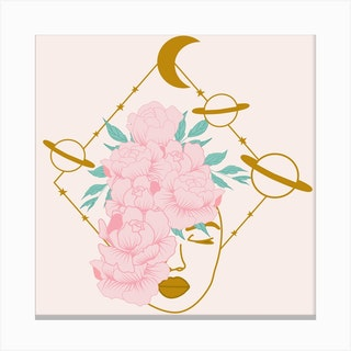 Celestial Woman And Planets Square Canvas Print