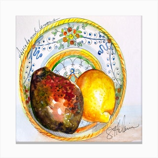 Avocado And Lemons In Artisan Ceramic Square Canvas Print