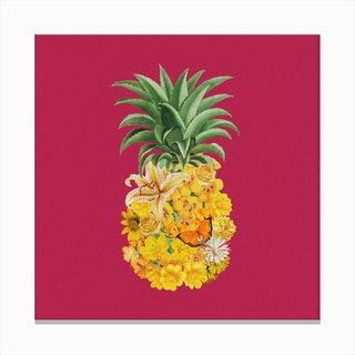 Pineapple Pink Square Canvas Print
