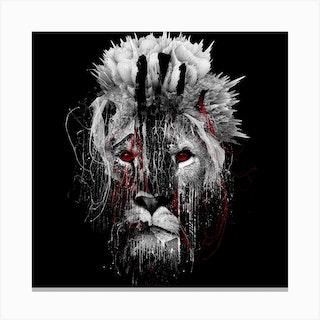 Lion Bw Square Canvas Print