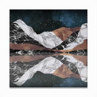 Landscape Mountains Square Canvas Print