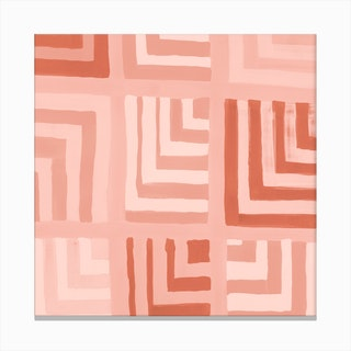 Painted Color Block Squares In Pink Canvas Print