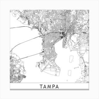 Tampa White Map Square Canvas Print