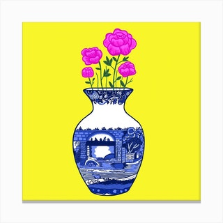 Chinoiserie Peonies Square Canvas Print