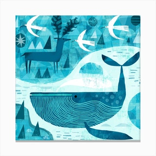 Whale Deer And Birds Square Canvas Print