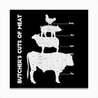 Butchers Cuts Of Meat Square Canvas Print