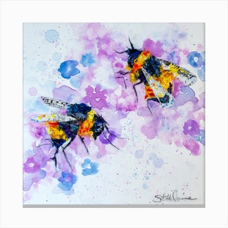 Watercolor Colorful Bees And Flower Square Canvas Print