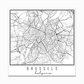 Brussels Belgium Street Map Canvas Print