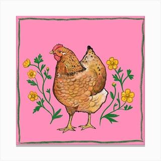 Hen Buttercups  Square Canvas Print