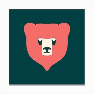 Bear Cub Coral Canvas Print