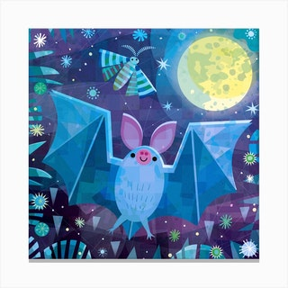 Bat And Moth Square Canvas Print