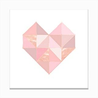 Geo Heart Rose Canvas Print