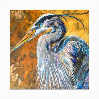 Blue Heron On Gold Square Canvas Print