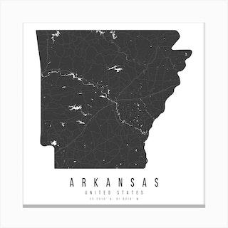 Arkansas Mono Black And White Modern Minimal Street Map Square Canvas Print