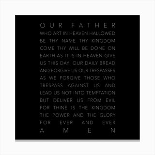 Our Father Who Art In Heaven Black Canvas Print
