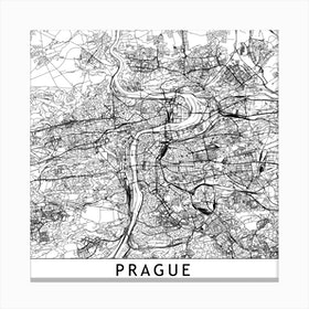 Prague Map Canvas Print