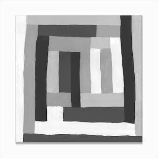 Painted Color Block Squares In Black And White Canvas Print
