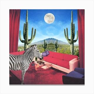 Saguarro Stripes Square Canvas Print