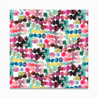Ink Bleeding Dots Pink Square Canvas Print