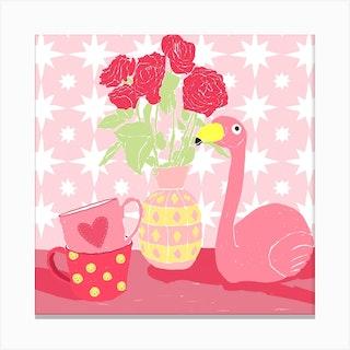 Pink Still Life Square Canvas Print