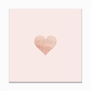Rosegold Heart Blush Canvas Print