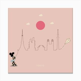 Tokyo Skyline Kite Canvas Print