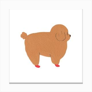 Round Doggy Canvas Print