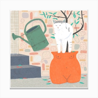 Cat In A Pot Canvas Print